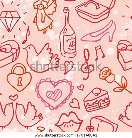 Doodle Valentine's hearts,  love seamless pattern,  vector