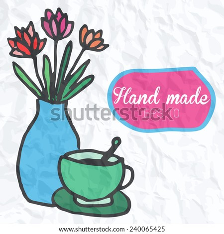 Doodle vase with flower and coffee cup illustration on sheet of paper