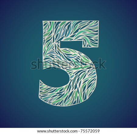 doodle vector alphabet number five - stock vector