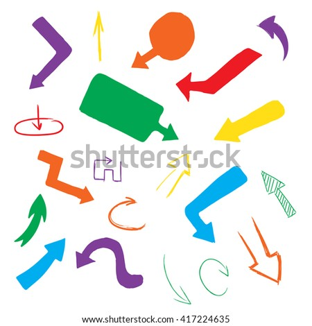 Doodle vector arrow collection, hand drawn illustration on white background - stock vector