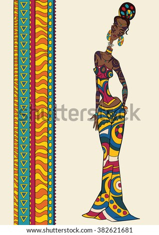 Doodle Vector colorful geometric Decorative afro woman profile with Beautiful Pattern hair. Coloring book anti stress for adult and older children. Coloring page with vintage ornament. - stock vector