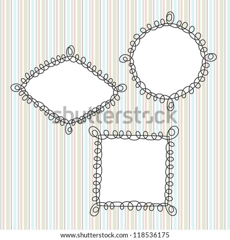 Doodle Vector Frames. Perfect for invitations or announcements. - stock vector
