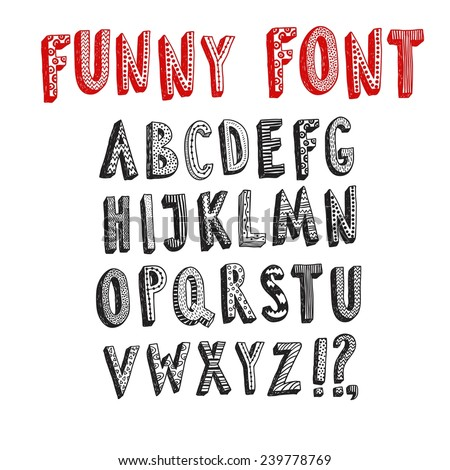 Doodle  vector funny ABC letters.Hand drawn font for your design.  - stock vector