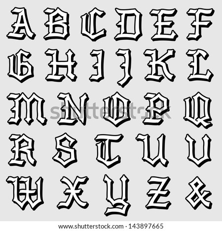 Doodle vector illustration of a complete Gothic alphabet in caps, written in black - stock vector