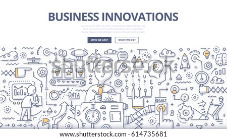 Doodle vector illustration of implementing ideas, making better services & products, creating value for customers, improving business technologies and processes . Business innovations concept