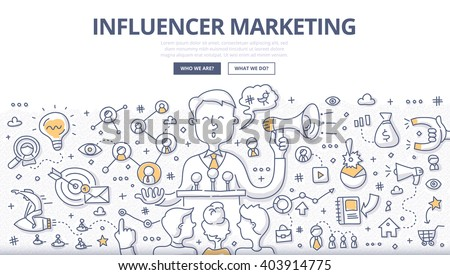 Doodle vector illustration of social influencer telling brand's story, affecting customer's purchasing decision, spreading the word through personal social channels. Outreach marketing concept - stock vector