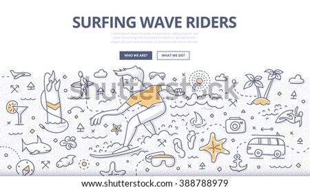 Doodle vector illustration of surfer riding ocean wave. Concept of surfing adventure for web banners, printed materials - stock vector