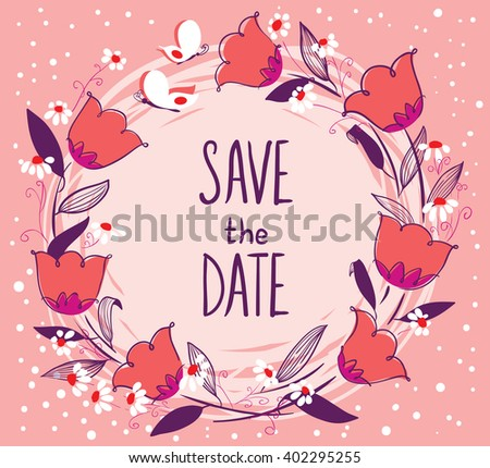 Doodle vector illustration wedding sketchy floral wreath with butterflies - stock vector