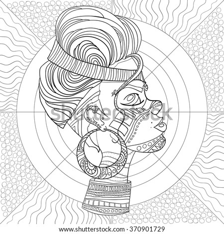Doodle Vector Monochrome Decorative afro woman profile with Beautiful Pattern hair. Coloring book anti stress for adult and older children. Coloring page with vintage ornament. - stock vector