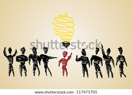 Doodle vector of different man thinking new idea among many people (EPS 10) - stock vector