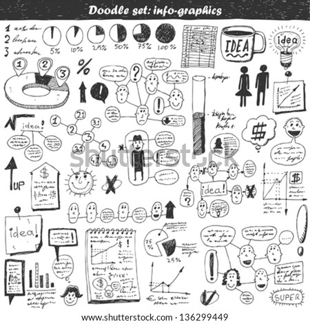 Doodle vector set - business info graphics - stock vector