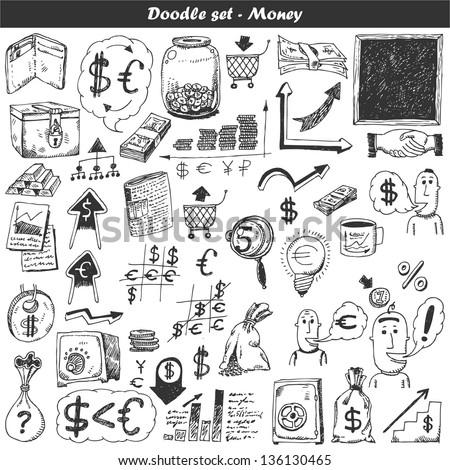 Doodle vector set - money - stock vector