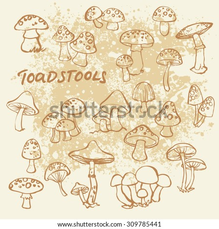 Doodle vector set of mushrooms and toadstools