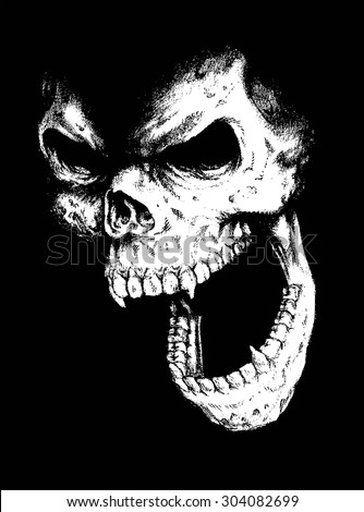 doodle vector skull face - stock vector