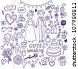 Doodle vector wedding set. Can be used for weddind invitation - stock vector