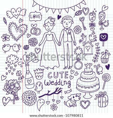 Doodle vector wedding set. Can be used for weddind invitation