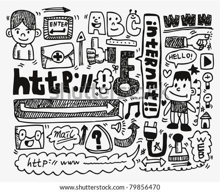 doodle web element icon set - stock vector