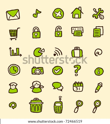doodle web icon set - stock vector