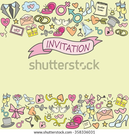 doodle wedding invitation card, hand drawn, vector illustration
