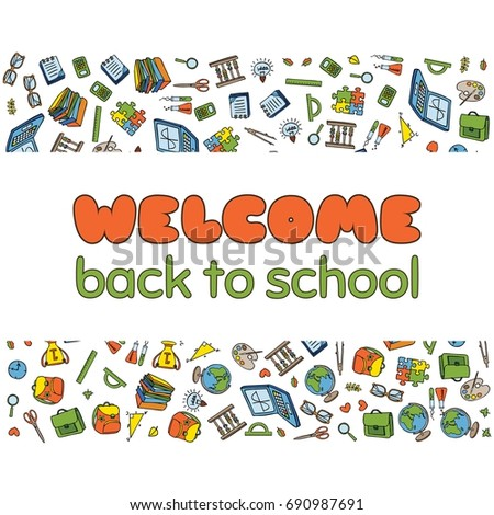 Doodle welcome back school poster hand stock vector 682664740 doodle welcome back to school poster hand drawn stationary graphic design elements for school invitation stopboris Image collections
