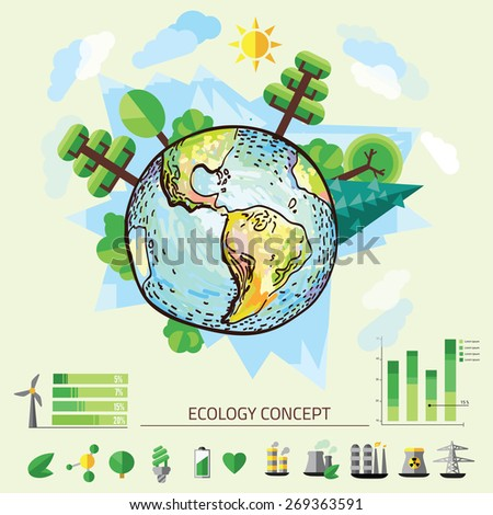 Doodle World Drawing, vector illustration of nature with tree around Earth. - stock vector