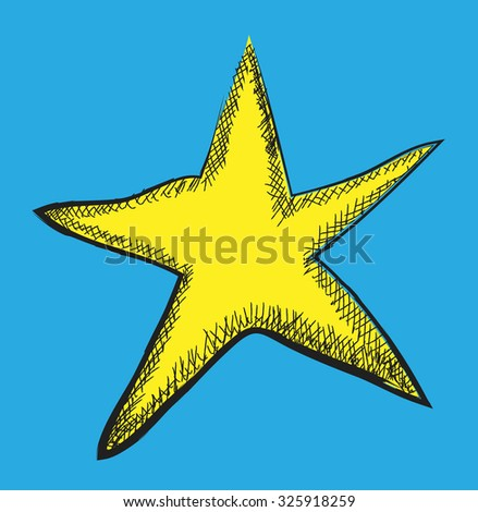 doodle yellow star, vector illustration - stock vector