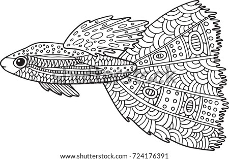 Doodle Zentangle Fish Coloring Page With Marine Animal For Adults