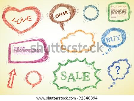 doodled design elements, speech bubbles, heart, frames - stock vector