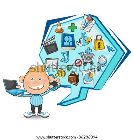Doodled Social Media Boy - stock vector