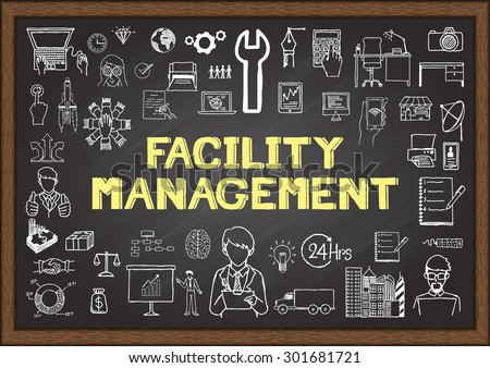 Doodles about facility management on chalkboard. - stock vector