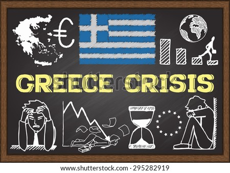 Doodles about Greece crisis on chalkboard. - stock vector