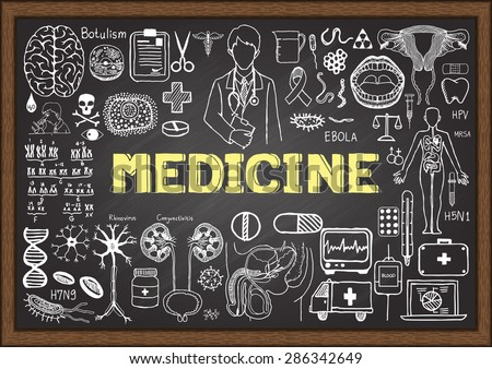 Doodles about medicine on chalkboard. Hand drawn medical icons. - stock vector