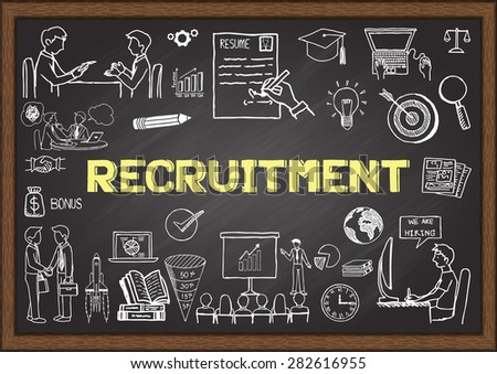 Doodles about recruitment on chalkboard. - stock vector
