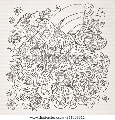 Doodles abstract decorative Easter vector sketch background - stock vector