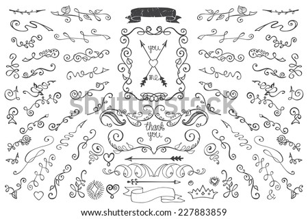 Doodles border,arrow,brushes,hearts,crown,floral decor elements set.For design templates,invitations. For weddings,Valentine's day,holidays,baby design,birthday.Vector - stock vector