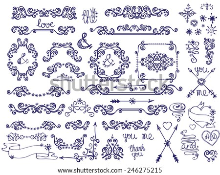 Doodles border,frame,hearts,swirl,love decor elements set.For design templates,invitations. Children's hand drawing style. For wedding,Valentine's day,holidays,menu,birthday.Winter Vector - stock vector