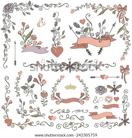 Doodles border,frame,wreath,arrow,ribbon,floral decor elements set.Hand sketched.Easy make design template,invitation,logo.Wedding,Valentine day,holiday,birthday,Easter,bridal shower.Vintage Vector - stock vector