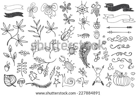 Doodles branches,arrows,ribbons,insects,decor set.Hand sketched elements .For design templates,invitations,logo. For weddings,Valentine's day,holidays,baby design,birthday.Vector