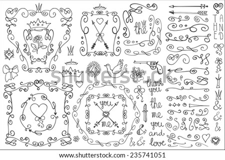 Doodles corner,arrow,bow,hearts,crown,love decor element set.For design template,invitation. Children hand drawing style. For wedding,Valentine day,holiday,Easter,birthday.Vector - stock vector