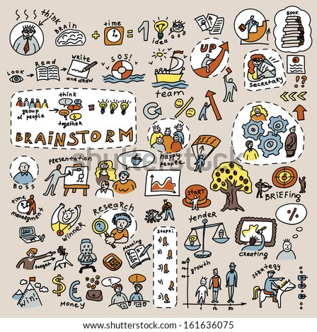 Doodles creative and business color icons Big collection of icons and symbals with hand-drawn doodles people and objects. . Good design elements for funny presentation. Color vector illustration. - stock vector