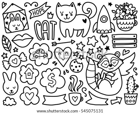 Doodles Cute Elements Black Vector Coloring Stock Vector 545075131