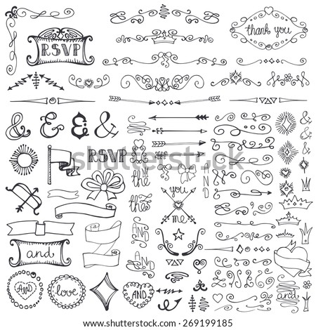 Doodles decor element set.Swirling  border,arrow,hearts,crown,lettering ampersands,ribbons.Design template,invitation. Hand drawing sketch. For wedding,Valentine day,holiday.Vintage love Vector - stock vector