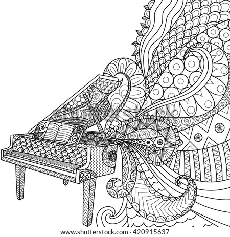 doodles design of piano for coloring book for adult poster cards design element - Design Coloring Books