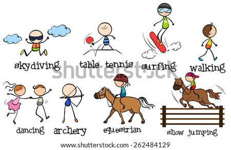 Doodles different kinds of sports - stock vector