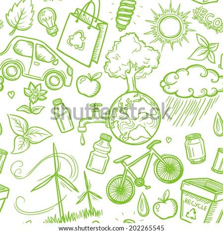 Doodles eco icon seamless - stock vector
