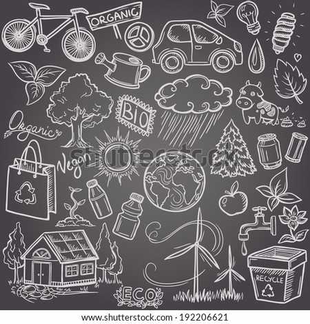Doodles eco icon set - stock vector