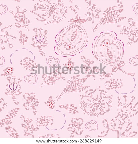 Doodles Floral pattern. Floral pattern. Floral drawing background. Cute floral pattern. - stock vector