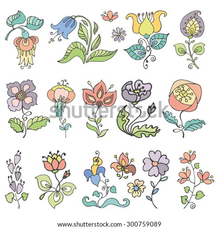 Doodles flowers and buds in pastel colors.Hand drawing decor elements.Isolated on white for greeting cards, Easter,birthday,wedding invitation ,pattern,scrapbooking.Retro vector illustration