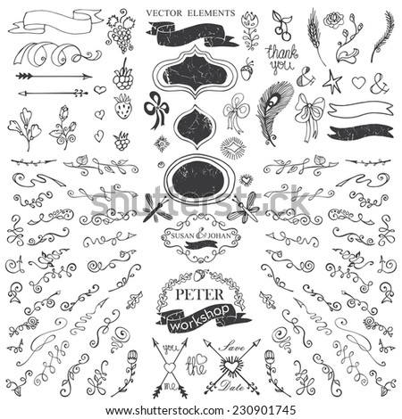 Doodles flowers,border,budges,arrows,ribbons,decor set for hand sketched logo.Easy to make design templates,invitations,logo,card. For wedding,Valentine day,holidays,Easter,birthday.Vector - stock vector