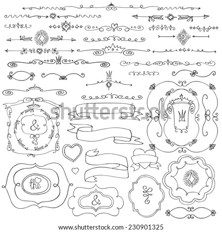 Doodles frame,border,arrow,ribbons,love decor elements set.For design template,invitation,card. Children's hand drawing style.For weddings,Valentine day,holidays,Easter,birthday.Vector - stock vector